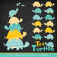 Sweet Stacks Tipsy Turtles Stack Clipart in Aqua & Yellow