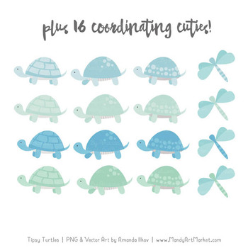 Sweet Stacks Tipsy Turtles Stack Clipart in Blue & Mint