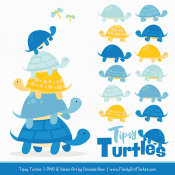 Sweet Stacks Tipsy Turtles Stack Clipart in Blue & Yellow