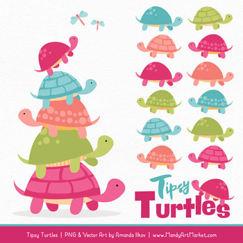 Sweet Stacks Tipsy Turtles Stack Clipart in Bohemian