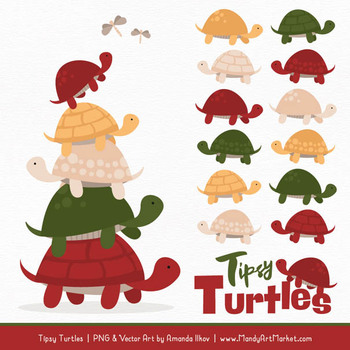 Sweet Stacks Tipsy Turtles Stack Clipart in Christmas