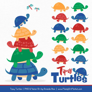 Sweet Stacks Tipsy Turtles Stack Clipart in Crayon Box Boy