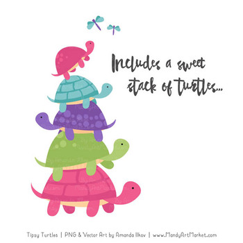 Sweet Stacks Tipsy Turtles Stack Clipart in Crayon Box Girl