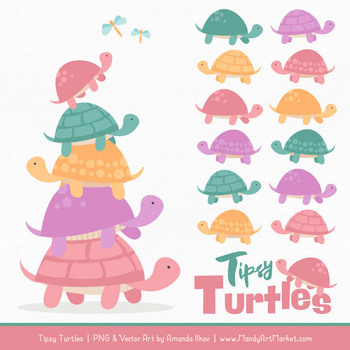 Sweet Stacks Tipsy Turtles Stack Clipart in Garden Party