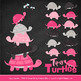 Sweet Stacks Tipsy Turtles Stack Clipart in Hot Pink
