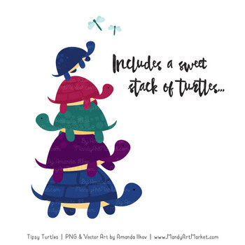 Sweet Stacks Tipsy Turtles Stack Clipart in Jewel