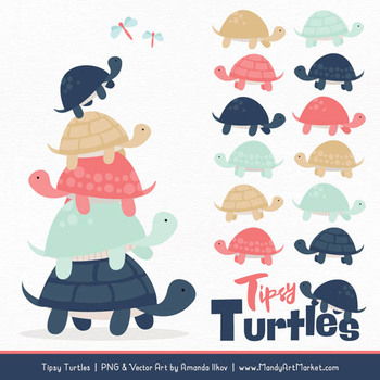 Sweet Stacks Tipsy Turtles Stack Clipart in Modern Chic