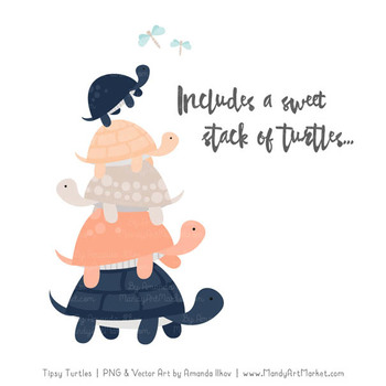 Sweet Stacks Tipsy Turtles Stack Clipart in Navy & Peach