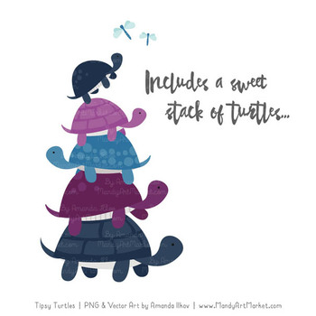 Sweet Stacks Tipsy Turtles Stack Clipart in Navy & Plum