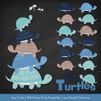 Sweet Stacks Tipsy Turtles Stack Clipart in Oceana
