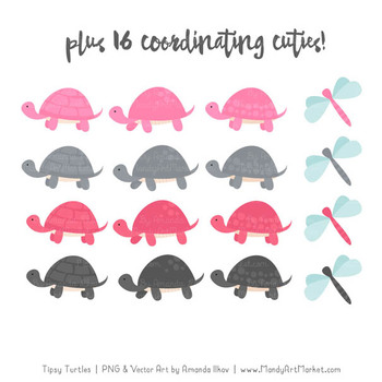 Sweet Stacks Tipsy Turtles Stack Clipart in Pink & Pewter