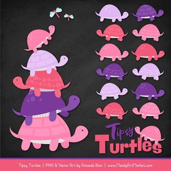 Sweet Stacks Tipsy Turtles Stack Clipart in Pink & Purple