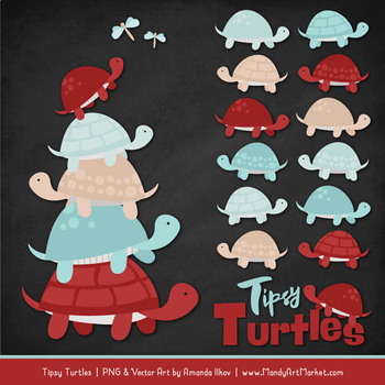 Sweet Stacks Tipsy Turtles Stack Clipart in Red & Robin Egg