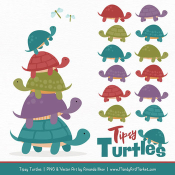 Sweet Stacks Tipsy Turtles Stack Clipart in Retro Bold