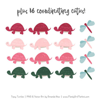 Sweet Stacks Tipsy Turtles Stack Clipart in Rose Garden
