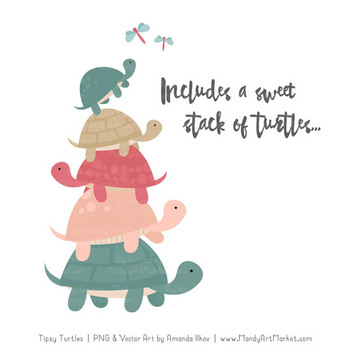 Sweet Stacks Tipsy Turtles Stack Clipart in Soft Christmas