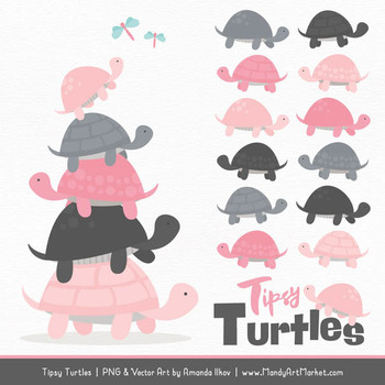 Sweet Stacks Tipsy Turtles Stack Clipart in Soft Pink & Pewter