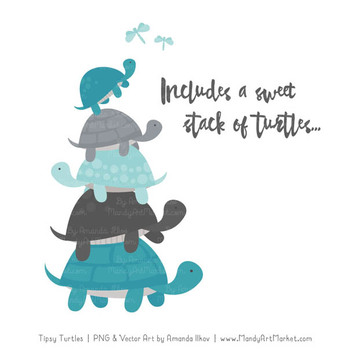 Sweet Stacks Tipsy Turtles Stack Clipart in Vintage Blue & Pewter