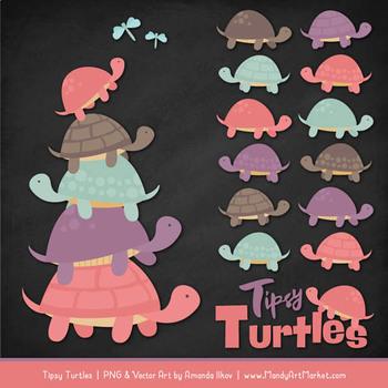 Sweet Stacks Tipsy Turtles Stack Clipart in Vintage Girl