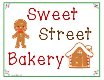 Sweet Street Bakery (Gingerbread) dramatic play theme