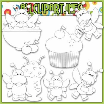 BUNDLED SET - Sweet Stuff Fairy Hippos 1 Clip Art & Digital Stamp Bundle