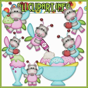 BUNDLED SET - Sweet Stuff Fairy Hippos 2 Clip Art & Digital Stamp Bundle