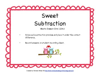 Sweet Subtraction - Common Core 1.OA.6