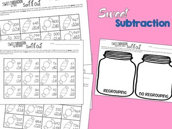 Differentiated Subtraction Math Center {Candy-Themed} for 3rd & 4th Grade
