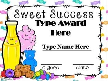 Sweet Success Editable Awards