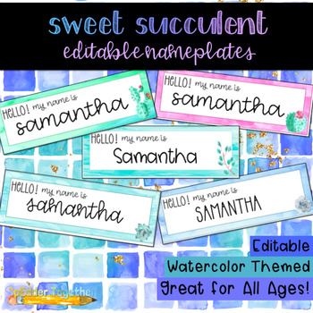Sweet Succulent Watercolor Editable Nameplates