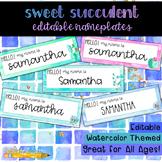 Sweet Succulent Watercolor Editable Nameplates