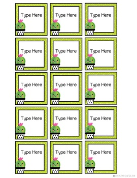 Sweet Succulents EDITABLE Mini Labels or Gift Tags