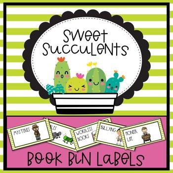 Sweet Succulents Theme Book Bin Labels