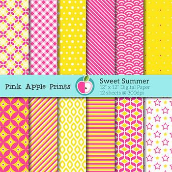 Sweet Summer Style Digital Paper Texture Set - Graphics for Teachers