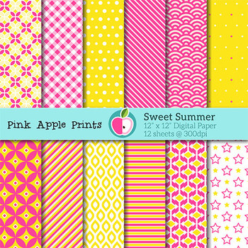 Sweet Summer Style Digital Paper Texture Set - Graphics fo