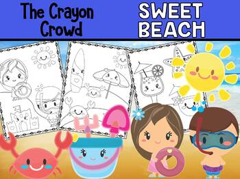 Sweet Summer Beach - The Crayon Crowd Coloring Pages, End of Year