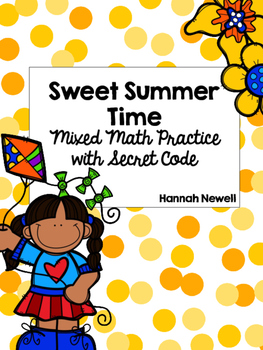 Sweet Summer Time - Mixed Math Skills Practice with Secret Code