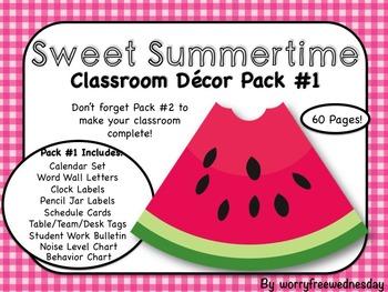"""""""Sweet Summertime"""" Classroom Decor Pack #1"""