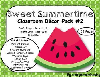 """""""Sweet Summertime"""" Classroom Decor Pack #2"""
