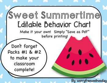 """Sweet Summertime"" Editable Behavior Chart"