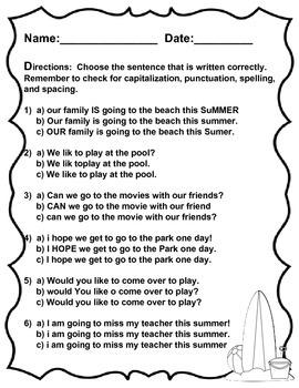 Sweet Summertime Sentences