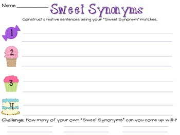 Sweet Synonym Match and Activity