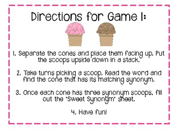 Sweet Synonyms! 2 Games in 1!