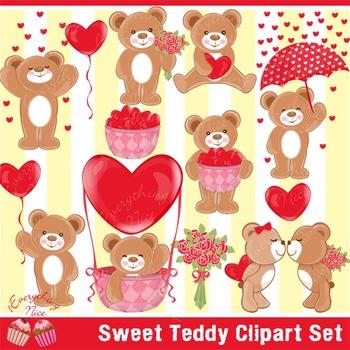 Sweet Valentine Teddy Bears Clipart Set