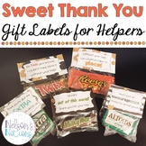 Sweet Thank You - Candy Gift Labels for Helpers and Volunteers