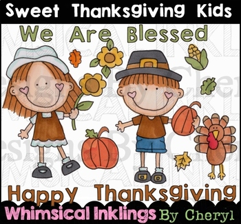 Sweet Thanksgiving Kids Clipart Collection