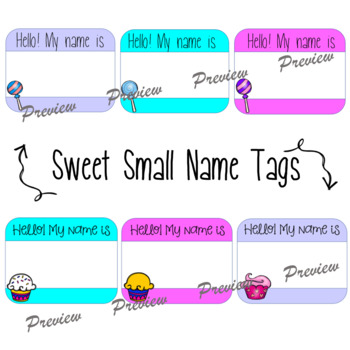 Sweet Theme Name Tags and Name Plates {Candy and Cupcakes}