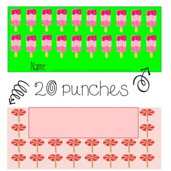 Sweet Themed Behavior/ Reward Punch Cards {cupcakes, candy, ice cream}