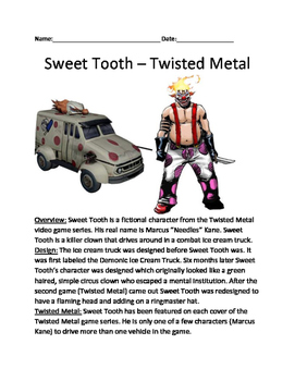 Sweet Tooth - Twisted Metal Clown character lesson facts info questions