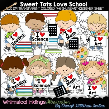 Sweet Tots Love School Clipart Collection